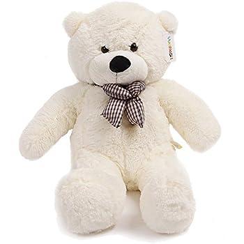 Énorme ours en peluche câlin, blanc, 39 Inches