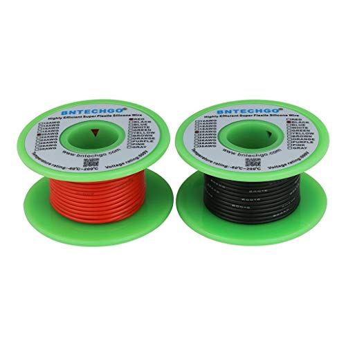 BNTECHGO 20 Gauge Silicone Wire Spool 50 feet Ultra Flexible High Temp 200 deg C 600V 20 AWG Silicone Wire 100 Strands of Tinned Copper Wire 25 ft Black and 25 ft Red Stranded Wire for Model -
