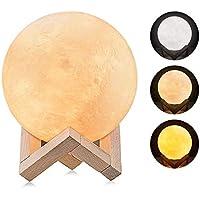 Lampe Lune 3D, omitium LED Lampe Lune Tactile 3 Couleurs Lampe de nuit RGB Moonlight avec USB Rechargeable pour Chambre Salon Café Cadeau Anniversaire Noël