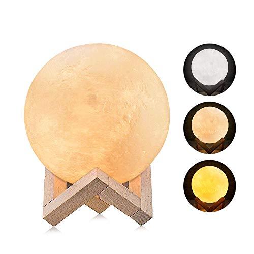 Mond Lampe, Omitium 3D Nachtlicht 3 Farbe LED Mondlicht Nachttischlampe Touch Control Dimmbare mit USB Wiederaufladbare Stimmungslicht für Wohnzimmer, Geschenk für Kinder und Weihnachtsgeschenk