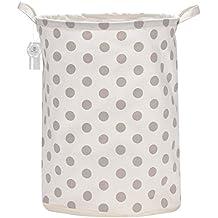 """Equipo de mar 19.7""""de tamaño grande resistente al agua revestimiento Ramie algodón tela plegable para ropa sucia cesta de almacenamiento cubo cilíndrico lienzo de arpillera con elegante diseño de lunares"""