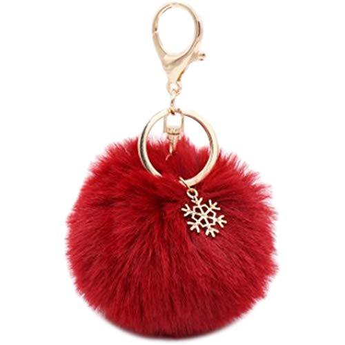 Leisial Llavero Colgante Copos de Nieve Bola de Pelo Cadena de Clave Aleación Llaveros Coche para Decoración Bolso Regalos de Navidad