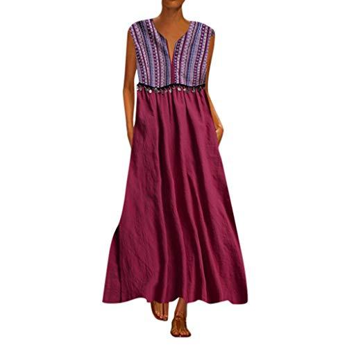 se-tägliches beiläufiges Sleeveless gestreiftes gedrucktes V-Ansatz Sommer-Maxi Kleid ()