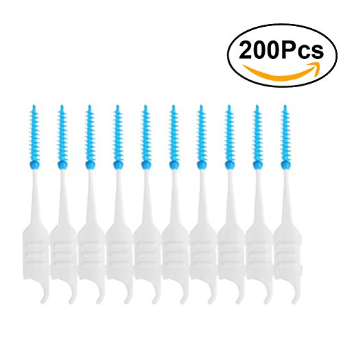 ultnice 200pcs Stacheln Dental Zahnstocher Bürste Weiche Seide Scaler an Doppel Flansch Interdental -