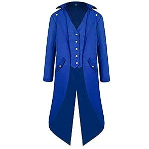 Amphia Herren Mäntel, Herren Mantel Tailcoat Jacke Gothic Gehrock Uniform Praty Outwear