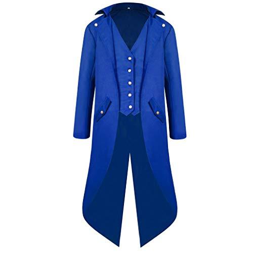 AmyGline Steampunk Herren Mantel Frack Jacke Gothic Gehrock Lange Mittelalter Viktorianisch Vintage Retro Smocking Uniform Kleid Praty Kostüm Männer -