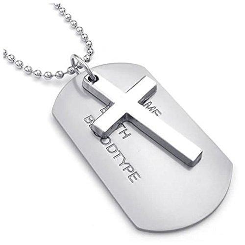 Collar militar - SODIAL(R) Collar de joyeria para hombre, pendiente de aleacion de placas de identificacion de perro de estilo del ejercito de etiqueta cruzada con la cadena de 68 cm, plata