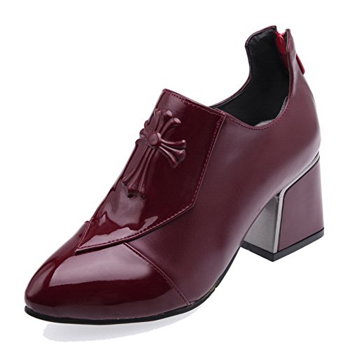 AgooLar Femme Tire Pu Cuir Pointu à Talon Correct Couleur Unie Chaussures Légeres Rouge Vineux