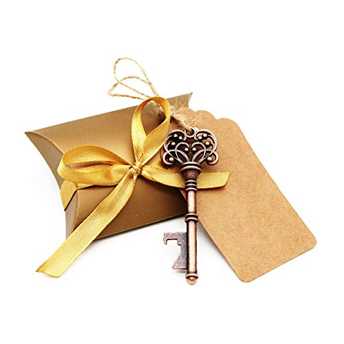 Biteyi chiave apribottiglie per matrimonio,bomboniere skeleton key bottle openers con scatola di caramelle e tag card,decorazioni di festa retrò,30 pezzi (style #2)