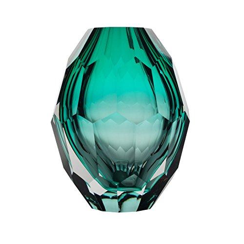 CASAMOTION Vase Mundgeblasene Vase aus Glas Optische Diamant Blumenvase,Türkis,Geschenkbox,13×13×17cm