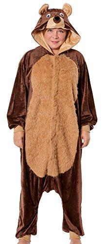 R-Dessous Bären Kostüm Damen Herren Teddy Bär Tier Jumpsuits Overall Bärenkostüm Verkleidung Karneval Unisex Groesse: ()