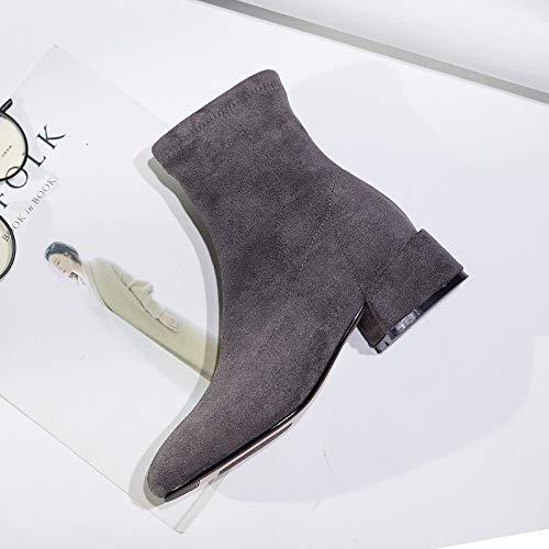Shukun Stiefeletten Frühling und Herbst Martin Stiefel Damen Stiefel dünn und dünn Kurze Stretch elastisch mit einzelnen Stiefel Persönlichkeit Stiefel, 36, grau
