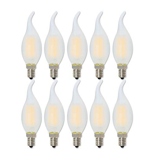 Kerze-lampen-basis (E14 LED Kerze Warmweiss, Dimmbar LED Lampe E14 4W, Ersetzt 40 Watt, Warmweiß 2700 Kelvin, 360LM, 360° Abstrahlwinkel, 10er-Pack)