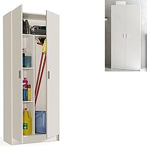HABITMOBEL Mueble Multiusos Blanco Alto 190 Patas Antihumedad (colgadores incluidos)