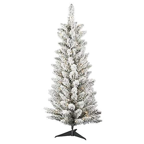 A & B Floral A & B Künstlicher Weihnachtsbaum, Acryl, Blumensäule, beflockt, Winterweiß, 122 cm