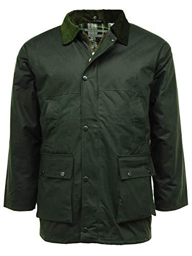 G5 Apparel Veste imperméable matelassée en Coton ciré - Vert - Vert Olive - XL