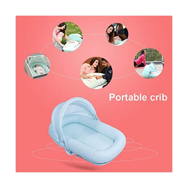 YANGGUANGBAOBEI Baby Bed,for Newborn,100% Cotton Newborn Portable Bassinet Crib,Perfect For Co Sleeping,Bionic Bed,White YANGGUANGBAOBEI [Mother's Lifesaver] It recreates the circular womb design, gives baby a sense of familiarity steadily. Develop 0-8 months newborn baby good sleeping habits. Multiple function baby nest and sleeper, great for baby's tummy time and lounging. [Prevention for Milk Vomiting - Reflex]Designing unique 175 angle of pad to prevent milk vomiting, and recreates being hugged to sleep by mother, help prevent the moro or 'startle' reflex. [Firm Support - Breathable] 3D mesh fabrics - structure provides sturdy, firm support, helps baby's spine growing healthly. Soft and breathable cover also helps prevent heat buildup which means baby sleeps better. 5