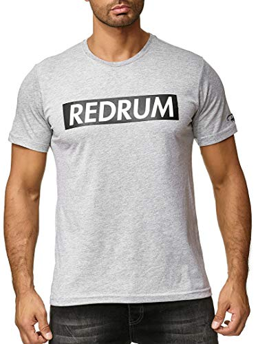 REDRUM Streetwear Fashion Herrenshirt T-Shirt Hip-Hop Kurzarm-Shirt Men beschriftet Beschriftung Aufschrift Bedruckt Modell Logo (Grau Melange, 54 - XL)