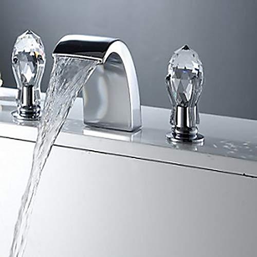 Durable Einfache und moderne Waschtischarmatur Wasserfall Wannenarmatur mit drei Löchern/zwei Griffen/Messing praktisch (2-griff Moen Küchenarmatur)