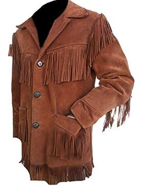 Classyak Hombre Western chaqueta de piel con flecos de ante elegante