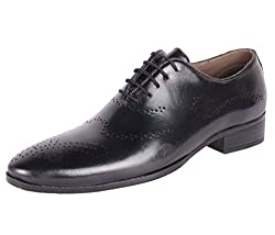 Shoeadda Mens Black Leather Oxford Shoes - 8 UK