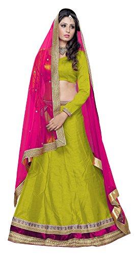 Gajiwala Sarees Women's Net Lehenga Choli (Green and Pink)
