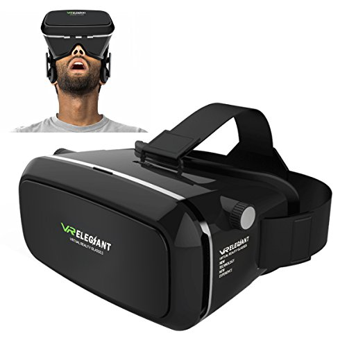"ELEGIANT Einstellbar Universal 3D VR Virtual Reality Box Brille 3D VR Karton Video Movie Game Brille virtuelle Realität Glasses für 3.5""-6"" Android IOS Iphone Samsung Galaxy Mega 2 / Galaxy Note 4 / Galaxy Note 3 / Galaxy S6 Edge/ Galaxy S6 / iPhone 6 / iPhone 6 Plus 7Plus / LG G3 / SONY Experia T2 Ultra / Xperia Z3 + / MOTO Nexus 6 / HTC One Max / Wunsch 816 / Die M9 / ASUS Zenfone 2 uswGoogle Pappkarton Oculus Rift Head Mounted Stirnband"