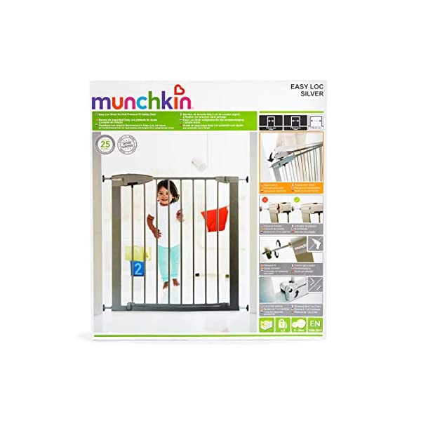 Munchkin Safety Gate Easy Lock (Silver) Munchkin Safety gate with easy lock and easy closure by pushing with one hand The pressure indicator ensures correct installation of the barrier The press-fit U frame allows 4 points firmly fixed by Assembly pressure 7