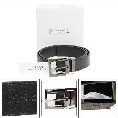 5f53a8c094394 Versace Collections Men Leather Belt Black Stainless Steel Adjustable Cut  to Fit