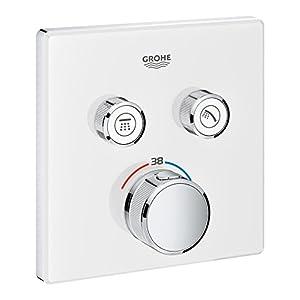 Grohe Grohtherm SmartControl – Termostato cuadrado para ducha y baño con instalación empotrada y dos válvulas, Cromo…