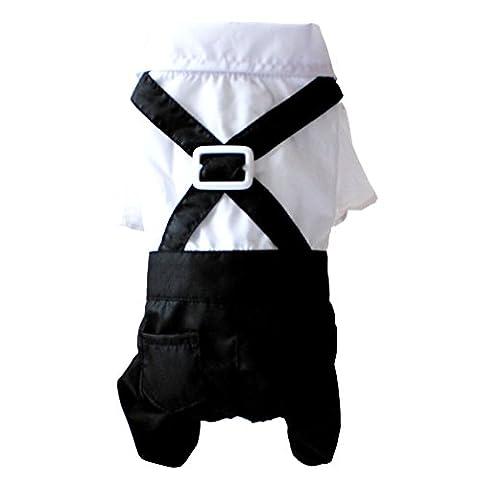 ranphy Chihuahua Sweatshirt Hochzeit Anzug für Hunde Gentleman vierbeinigen Jumpsuit Stecker Overalls Pet Puppy Outfits schwarz weiß (Einfache Katzen-kostüm Für Arbeit)