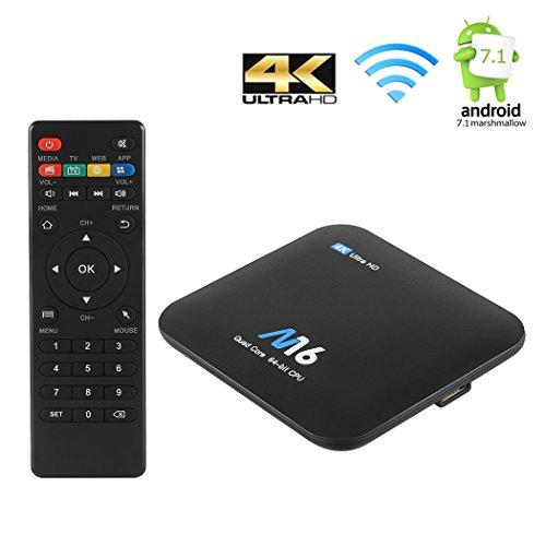 TV Box Android 7.1, SIEGES S905 Octa-Core 64 Bits CPU 1GB RAM 8GB ROM 4K* 2K 1080P Smart Media Player