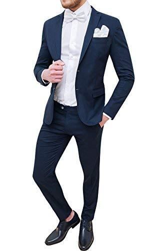 Trade sartoriale abito completo uomo blu scuro elegante made in italy con papillon e pochette (48, blu scuro)