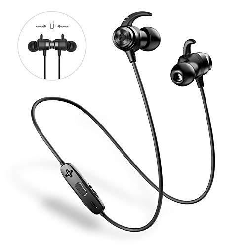 Bluetooth Kopfhörer Sport Kabellos - ANCREU In Ear Ohrhörer Wasserdicht IPX5 Magnetischer Wireless Im Ohren mit Mikrofon Drahtloser Sportohrhörer für iPhone Samsung (Schwarz)