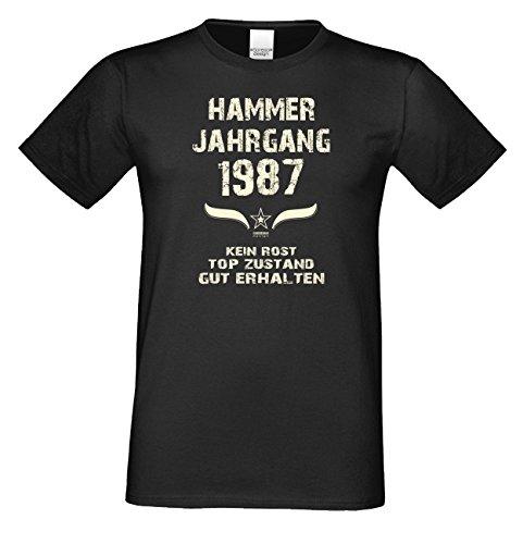 T-Shirt Herren Männer Motiv Hammer Jahrgang 1987 Geschenkidee zum 30. Geburtstag Geburtsjahr Freizeitlook Farbe: schwarz Schwarz