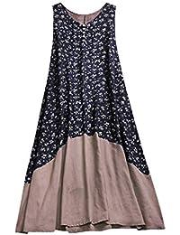 772b22fcd6aa POLPqeD Vestito da Donna Estiva Plus Size Women Vintage Patchwork Casual  Allentato Boho Long Plus Size