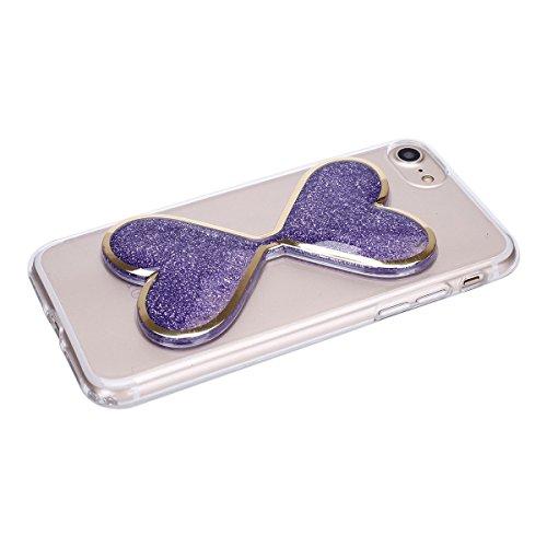 iPhone 7 Custodia, iPhone 7 Cover, iPhone 7 4.7 Custodia Silicone, JAWSEU Moda Stile Lusso Cristallo di Bling Brillante Sparkle Glitter Custodia per iPhone 7 Back Cover Case Ultra Sottile Flessibile G Viola