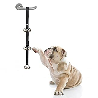 "Dog Potty Training Door Bells/House training Doorbells – 6 Pcs 1.4"" Large Loud Doggy Bells – Easy for Toilet Training – Length Adjustable doorbell with Free Puppy Training Directions Included 41zSLzbMDmL"