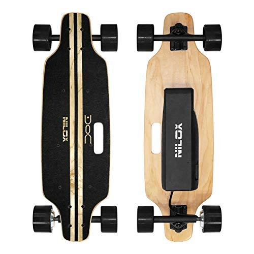 Nilox Doc Skateboard Elettrico, E-skate con Telecomando di Controllo, velocità max 12 km/h, Batteria 4,4 Ah, Nero, Legno