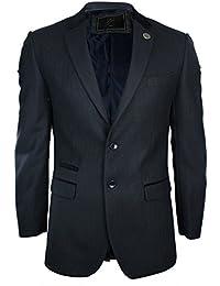 Mens Black/Tan brown/Cream Self Stripe Velvet Elbow Patch & Trim Blazer Slim Fit Smart Casual