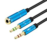 Headphone Splitter For Computer 3.5mm Female to 2 Dual 3.5mm Male Headphone Mic Audio Y Splitter Cable Smartphone Headset to PC Adapter(Blue)