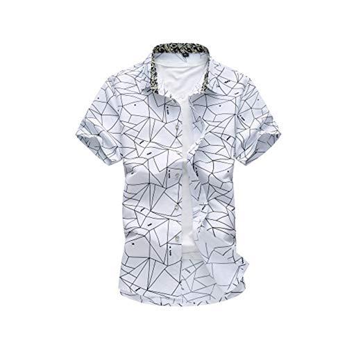 Yuhuali camicia da uomo casual in cashmere floreale con maniche corte 7xl bianca 02 l