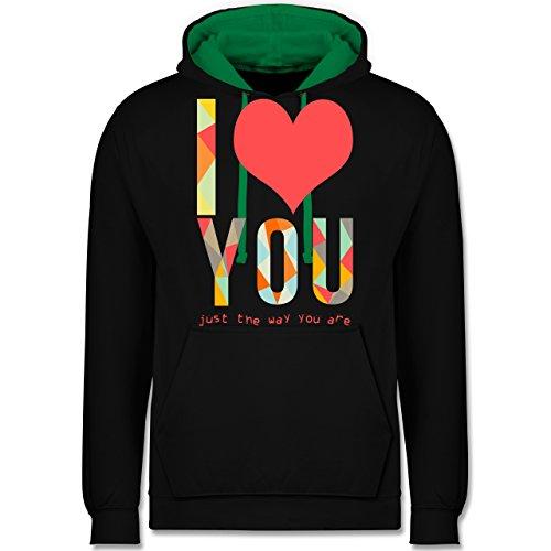 Romantisch - I love you just the way you are - Kontrast Hoodie Schwarz/Grün