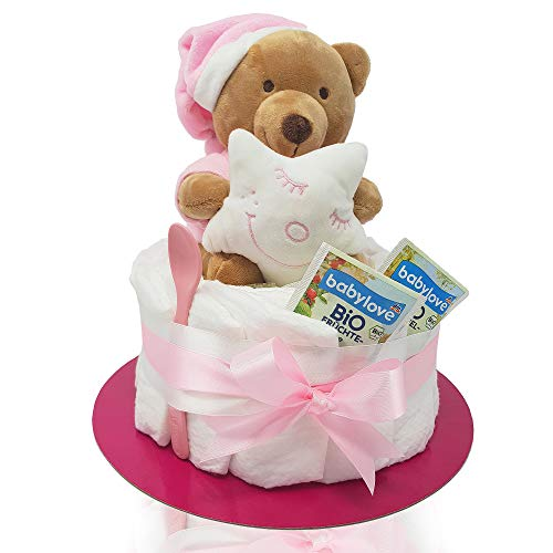 """Windeltorte mit Teddy-Spieluhr von Homery, perfekt als Geschenk für Baby-Party oder zur Geburt - wählbar für Junge und Mädchen (Rosa - Mädchen, Windeltorte\""""Klassik\"""")"""