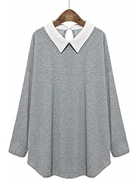 YALL Women 'S T - Shirt, Loose Solapa, Blusa De Manga Larga, Invierno