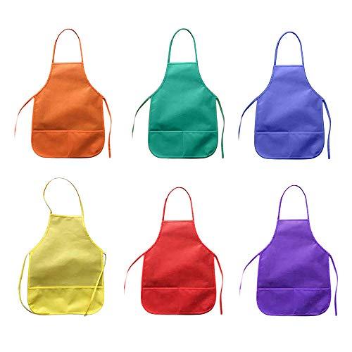 6 Stück Kinder Schürze Malschürze Bastelschürze, 6 Farben Non-Woven Kinderschürze Malkittel mit 2 Taschen für Kunsthandwerk Kunst Malen, Klassenzimmer, Küche Backen Kochen, Von 3 bis 8 Jahre / 36x48cm