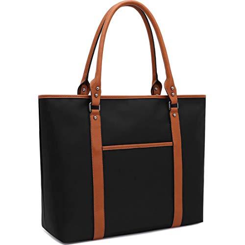 Laptop-Tasche, Laptop-Tasche, wasserabweisend, Nylon, Arbeitstasche, Laptop-Tasche für Damen, 38,1-39,6 cm (15-15,6 Zoll) Tablet/Ultra-Book/MacBook/Chromebook 15.6 inches schwarz