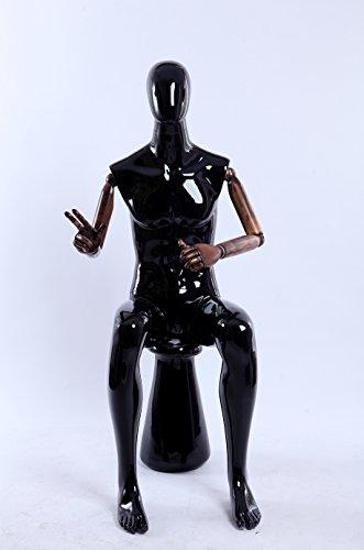 Belle abstrait noir brillant laqué verstellte mannequin vous les bras et les mains en bois standplatte en acier inoxydable G1H-M