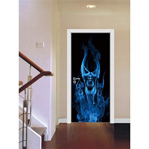 ZHLLNB817 Blaues Feuer Schädel Scary Muster Halloween Dekoration Poster Aufkleber Selbstklebende Abnehmbare Home Tür Aufkleber 77X200 cm