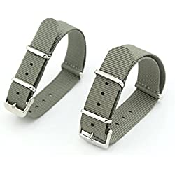 Owfeel Pack of 2pcs Couple Gray Nylon Watch Band Strap Replacement Watch Belt 22mm 18mm